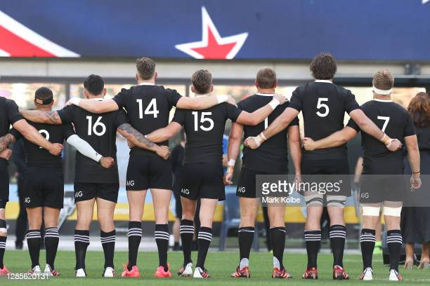 The All Blacks sing the national anthem before the 2020 Tri-Nations rugby match between the New Zealand All Blacks and the Argentina Los Pumas at...