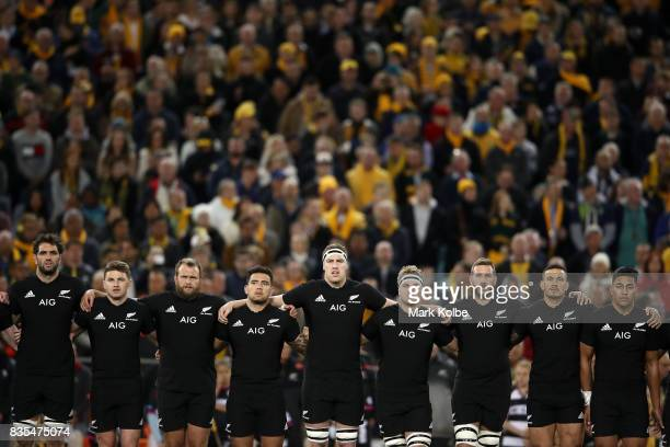 The All Blacks sing the national anthem before The Rugby Championship Bledisloe Cup match between the Australian Wallabies and the New Zealand All...