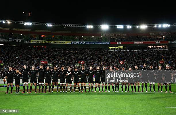 The All Blacks sing the national anthem during the International Test match between the New Zealand and Wales at Westpac Stadium on June 18 2016 in...