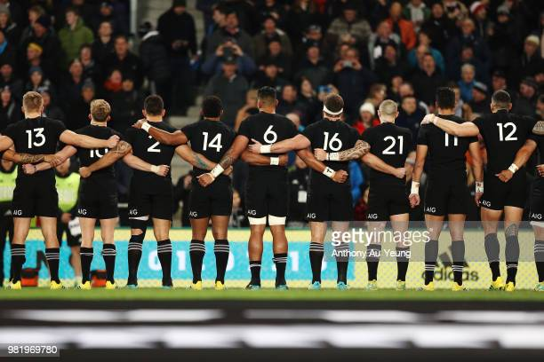 The All Blacks stand for the national anthem prior to the International Test match between the New Zealand All Blacks and France at Forsyth Barr...
