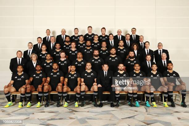 The All Blacks team to play Japan pose for a photo during the New Zealand All Blacks team photo session at Hilton Tokyo Bay on October 31 2018 in...