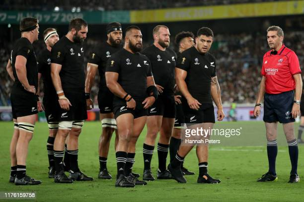 The All Blacks wait to pack down for a scrum during the Rugby World Cup 2019 Group B game between New Zealand and South Africa at International...