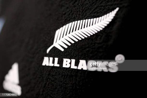The All Blacks world cup jersey on display during the New Zealand All Blacks 2019 Rugby World Cup Squad Announcement at Eden Park on August 28, 2019...