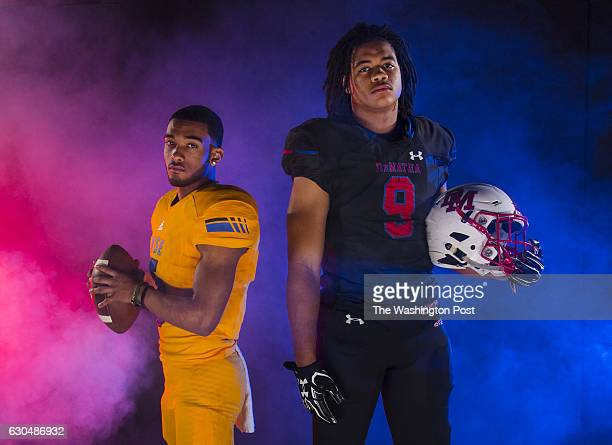 The All Met Offensive Player of the Year Jabari Laws of Wise and Defensive Player of the Year Chase Young of DeMatha right are photographed on...