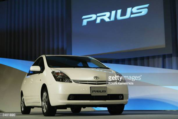 The all new Toyota Prius Hybrid is displayed during a press conference September 1 2003 in Tokyo Japan Toyota Motor Corporation announce the all new...