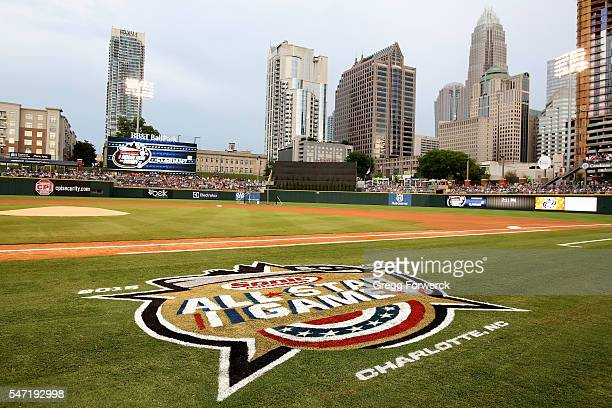 The All Star Game logo is photographed during the Sonic Automotive AAA Baseball All Star Game Home Run Derby at BBT Ballpark on July 11 2016 in...