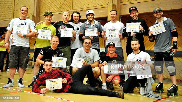 The all star team selection at the Men's European Cup roller derby tournament at Walker Activity Dome on August 31 2014 in Newcastle upon Tyne England