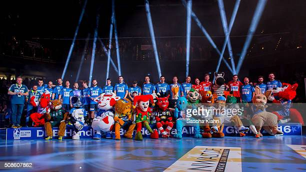 The All Stars of DKB HandballBundesliga and the mascots of the clubs during the All Star Game 2016 at Arena Nuernberger Versicherungen on February 5...