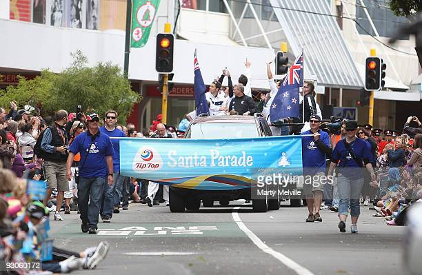 The All Whites celebrate during a combined Christmas/victory parade through the CBD on November 15 2009 in Wellington New Zealand New Zealand won 10...