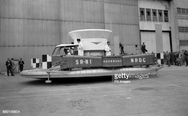 The allBritish prototype SR N1 hovercraft designed by Christopher S Cockerell and made by Saunders Roe during a demonstration at Cowes on the Isle of...