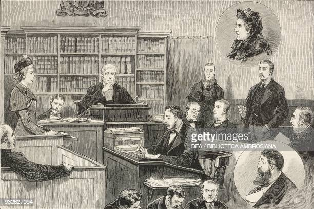 The alleged spiritualistic frauds, Bow Street Police Court, London, United Kingdom, illustration from the magazine The Graphic, volume XXIII, n 580,...
