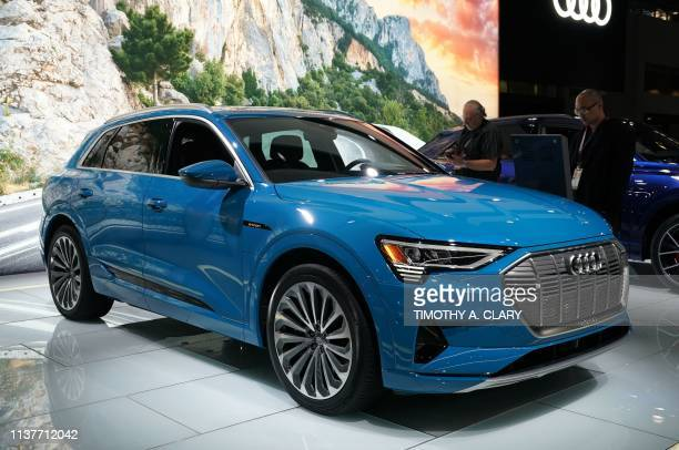 The allelectric 2019 Audi etron is viewed during the press preview days of the 2019 New York International Auto Show at the Javits Center in New York...