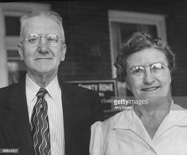 The Allen County infirmary's superintendent and matron Mr and Mrs Enlow E Disler at the center of the scandal involving 31 deaths in 35 days in the...