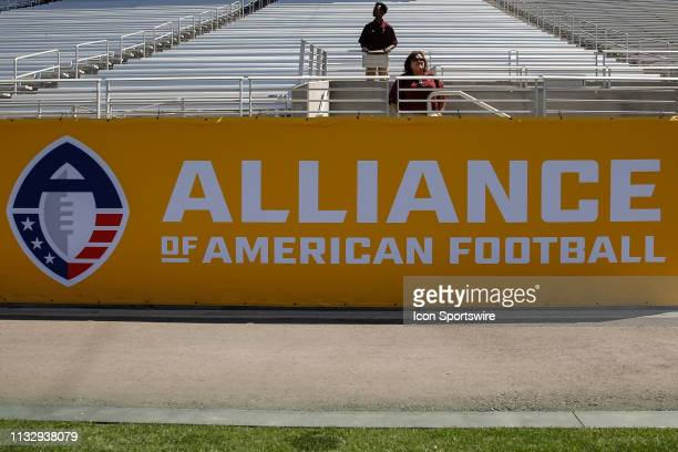 The Alliance of American Football and logo on a banner during the AAF football game between the San Diego Fleet and the Arizona Hotshots on March 24...