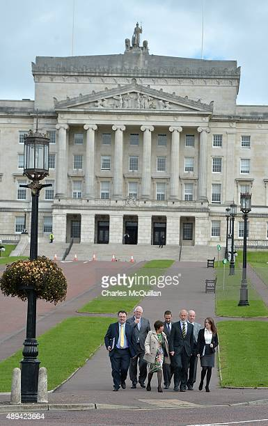The Alliance party leader by leader David Ford arrive for a press conference at Stormont on September 21 2015 in Belfast Northern Ireland The...
