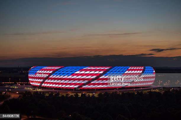 The Allianz Arena is illuminated with the flag of the United States of America to celebrate the Independance Day on July 4 2016 in Munich Germany