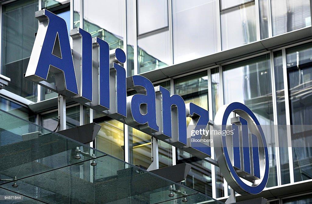 The Allianz logo hangs above the entrance to the company's o : News Photo