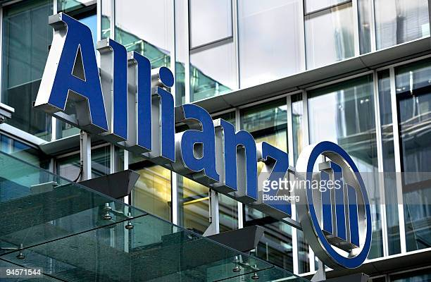 The Allianz logo hangs above the entrance to the company's offices in Frankfurt Germany on Friday Nov 9 2007 Allianz SE Europe's biggest insurer...