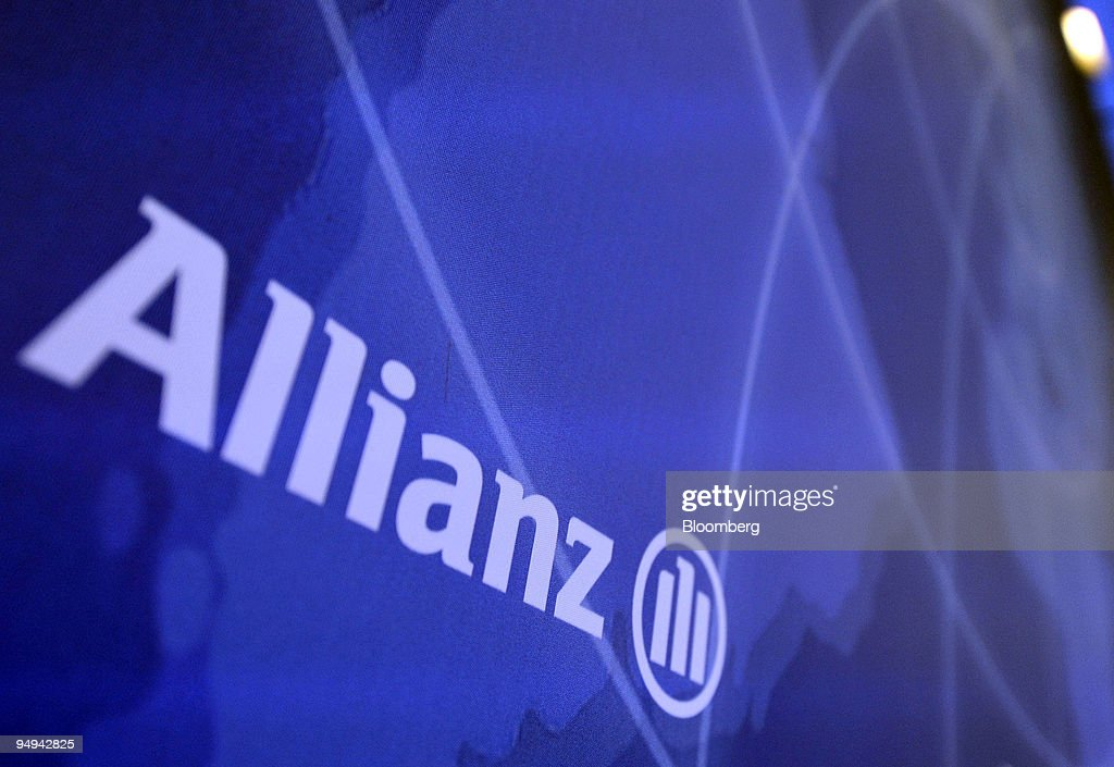 The Allianz SE Group logo is seen during the presentation of : News Photo