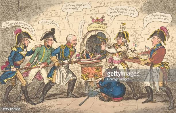 The Allied Bakers or the Corsican Toad in the Hole, April 1, 1814. Gebhardt von Bl�cher, the Duke of Wellington and Austrian emperor Francis I...