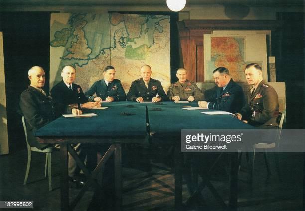 The allied commanders: Omar N. Bradley, Senior Commander of U.S. Ground Forces; Admiral Sir Bertram Ramsay, Allied Naval Commander; Air Chief...