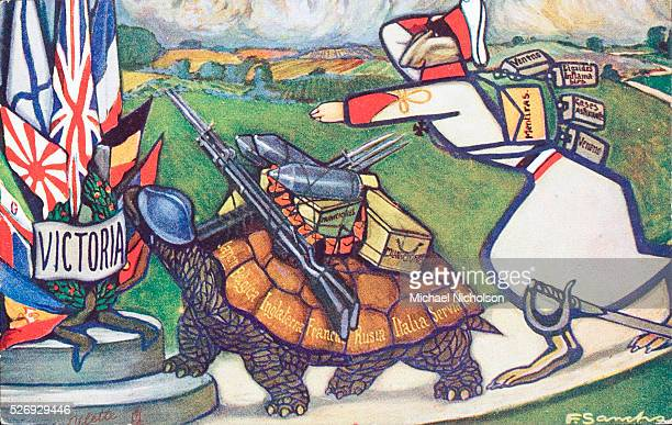 The Allied tortoise carrying munitions and bearing the names of Japan Belgium England France Russia Italy Serbia and Portrugal reaching the winning...