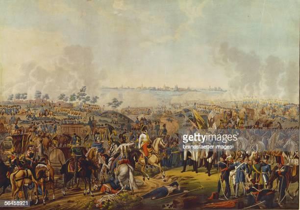 The Allies, Russia, Prussia, Austria and Great Britain defeated Napoleon's armies. Feldmarschall Schwarzenberg vor Kaiser Franz I. Von oesterreich,...