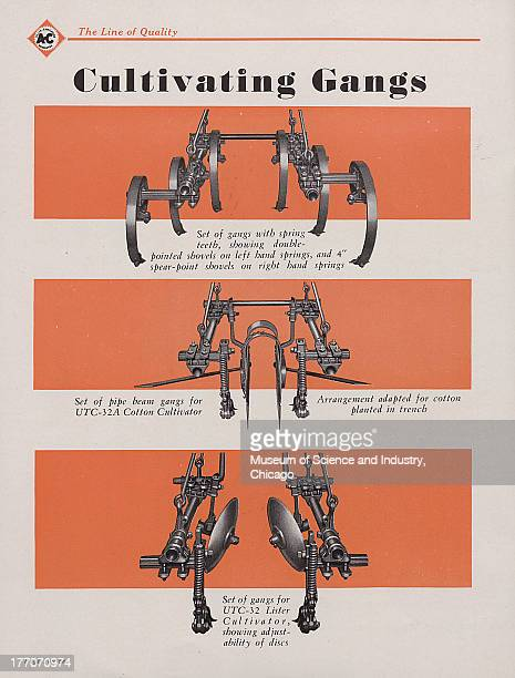 The Allis Chalmers Cultivating Gangs For The AllCrops color photographs showing images of a various cultivating gangs for the AllCrop such as one...