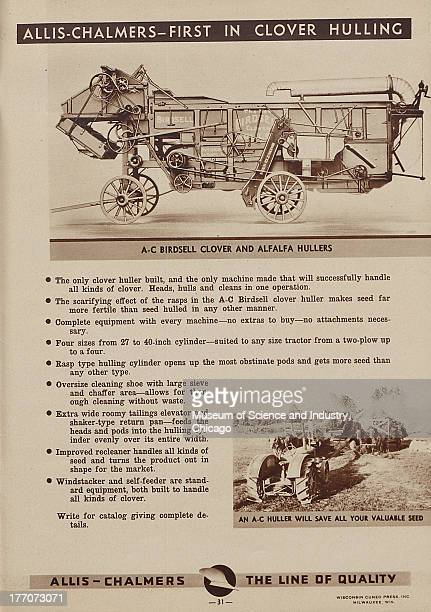 The Allis Chalmers First In Clover Hulling black and white photograph with an image of a Birdsell Clover and Alfalfa Hullers at the top and towards...