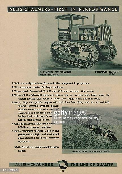 The Allis Chalmers First In Performance black and white photograph of a Model 50 Tractor at the top and an image at the bottom of a Hillside Model 50...