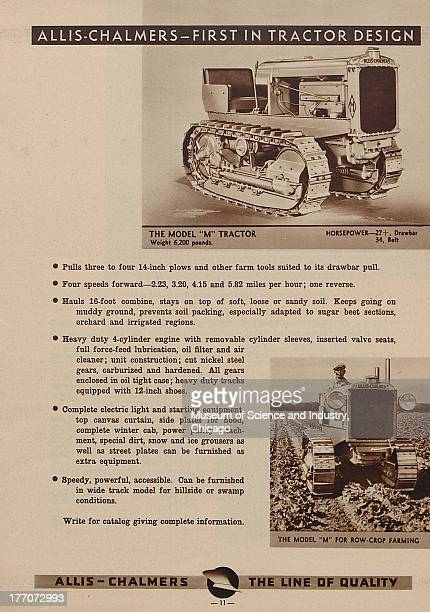 The Allis Chalmers First In Tractor Design black and white photograph of a Model M Tractor on top and an image of a Model M Tractor being used for...