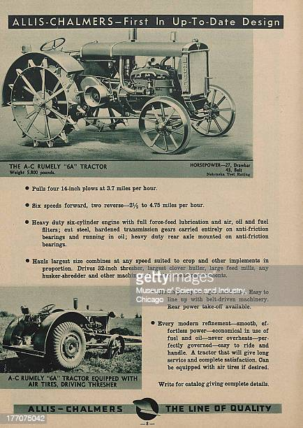 The Allis Chalmers First In UpToDate Design black and white photograph of a Rumely 6A Tractor at the top and at the bottom there is an image of a...