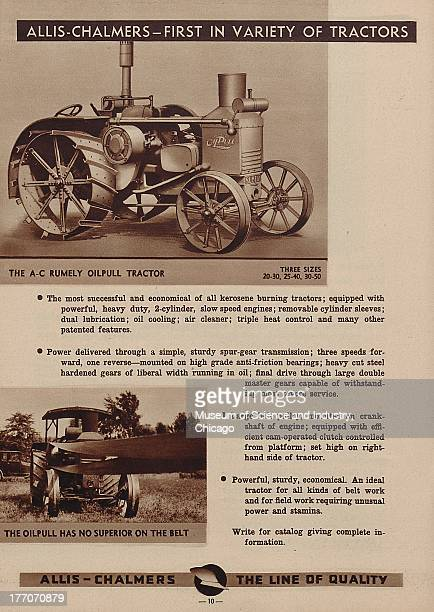The Allis Chalmers First In Variety Of Tractors black and white photograph of a Rumely Oil Pull Tractor on the top and at the bottom there is an...
