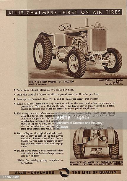 The Allis Chalmers First On Air Tires black and white photograph of a AirTired Model U Tractor there is front side view of it on the top and a rear...