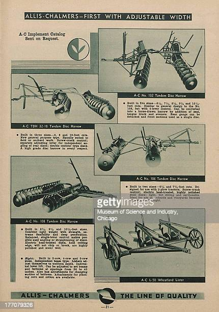 The Allis Chalmers First With Adjustable Width black and white photographs of various AllisChalmers equipment such as a Number 132 Tandem Disc Harrow...