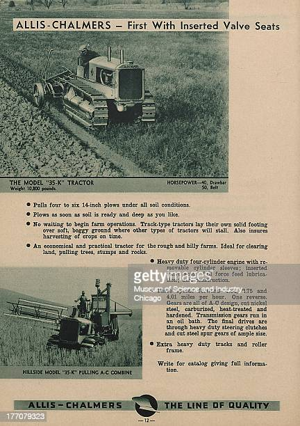 The Allis Chalmers First With Inserted Valve Seats black and white photograph of a Model 35K Tractor on the top plowing down farm land and on the...