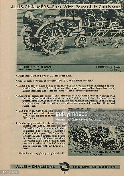 The Allis Chalmers First With Power Lift Cultivator black and white photograph of a Model UC Tractor about to be taken out for a plow at the top of...