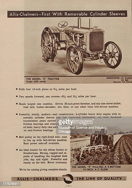 The Allis Chalmers First With Removable Cylinder Sleeves black and white photographs of a 6000 pound Model E Tractor at the top of the page and at...