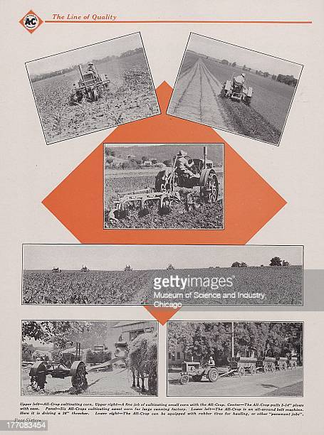 The Allis Chalmers The Line Of Quality various black and white photographs of the AllisChalmers AllCrop tractor doing all types of work circa 1932