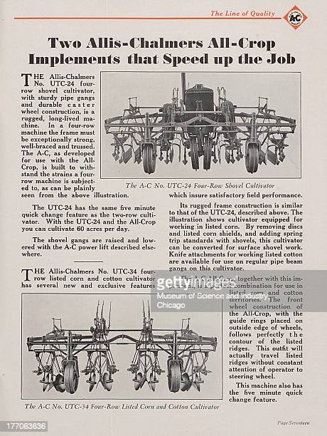 The Allis Chalmers Two AllisChalmers All Crop Implements That Speed Up The Job black and white photograph of a UTC24 Four Row Shovel Cultivator at...