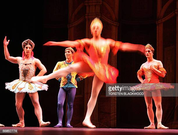 The allmale dance troupe Les Ballets Trockadero de Monte Carlo performs Raymonda's Wedding on the opening day of their new show in Sydney 05 October...