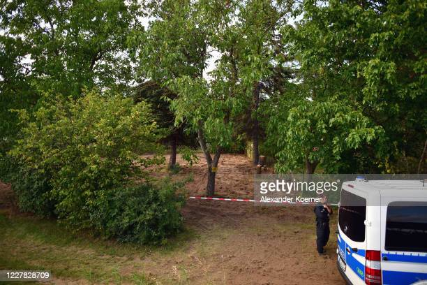 The allotment, which the police searched for two days in relation to the disappearance of Madeleine McCann, is seen on July 29, 2020 in Hanover,...