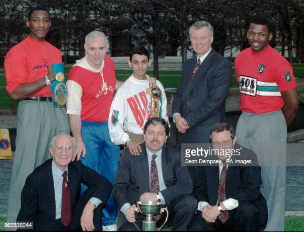 The AllParty Boxing Group of the House of Commons with British boxers and promoters outside Parliament where they helped launch the professional...