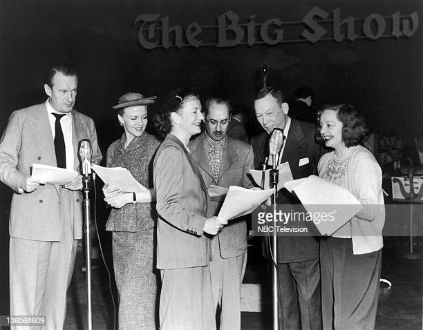The allstar cast of the NBC radio variety programme 'The Big Show' 20th April 1952 Left to right George Sanders Peggy Lee Portland Hoffa Groucho Marx...