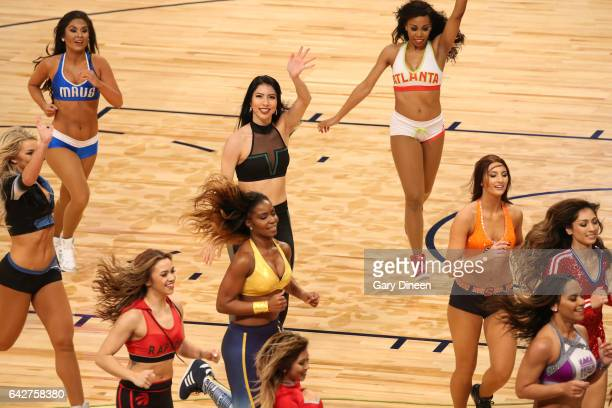 The AllStar dance team performs during the JBL ThreePoint Contest during State Farm AllStar Saturday Night as part of the 2017 NBA AllStar Weekend on...