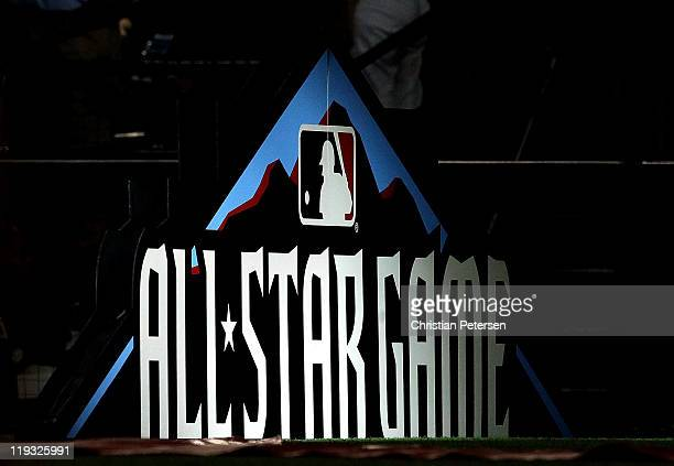 The AllStar Game logo is displayed on the field before the start of the 82nd MLB AllStar Game at Chase Field on July 12 2011 in Phoenix Arizona