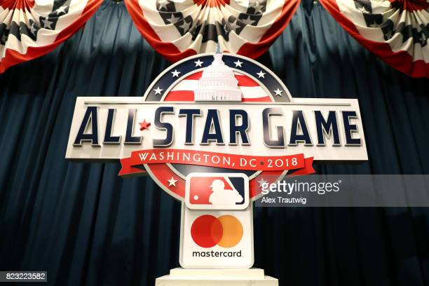 The AllStar Game logo is seen after the unveiling of the 2018 AllStar Game logo at Nationals Park on Wednesday July 26 2017 in Washington DC