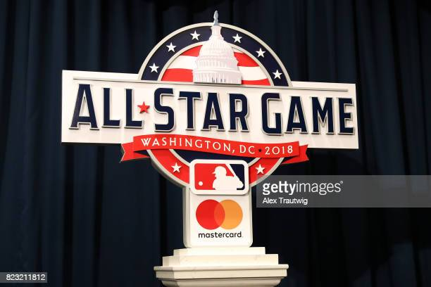 The AllStar Game logo is seen at the unveiling of the 2018 AllStar Game logo at Nationals Park on Wednesday July 26 2017 in Washington DC