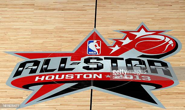 The AllStar logo is seen at midcourt before the 2013 NBA AllStar game at the Toyota Center on February 17 2013 in Houston Texas NOTE TO USER User...