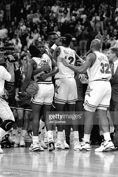The AllStars greet each other during the 1992 NBA AllStar Game at Orlando Arena on February 9 1992 in Orlando Florida NOTE TO USER User expressly...